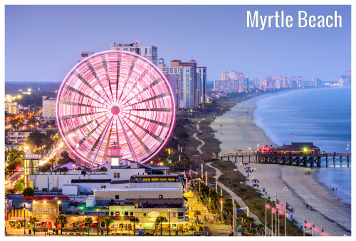 The Glorious Myrtle Beach In South Carolina With Lit City Buildings In View